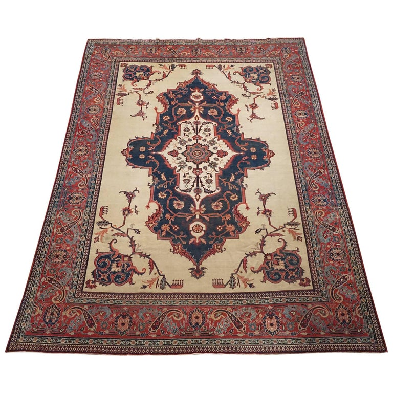 Antique Cotton Agra Rug With Abrash Circa 1900 For Sale: Antique Persian Serapi Heriz Area Rug, Circa 1900 For Sale