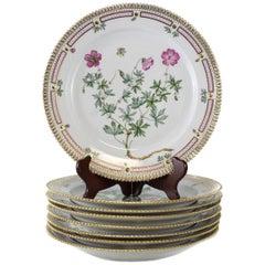 Eight Royal Copenhagen Flora Danica Round Platters
