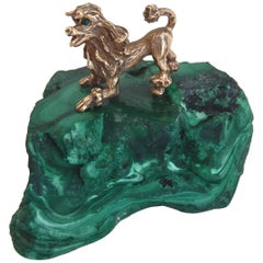 Early 20th Century Malachite and Gilt Bronze Miniature Animal Sculpture