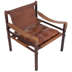 """Arne Norell """"Sirocco"""" Safari Sling Chair in Brown Leather"""
