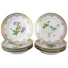 Eight Royal Copenhagen Flora Danica Luncheon Plates