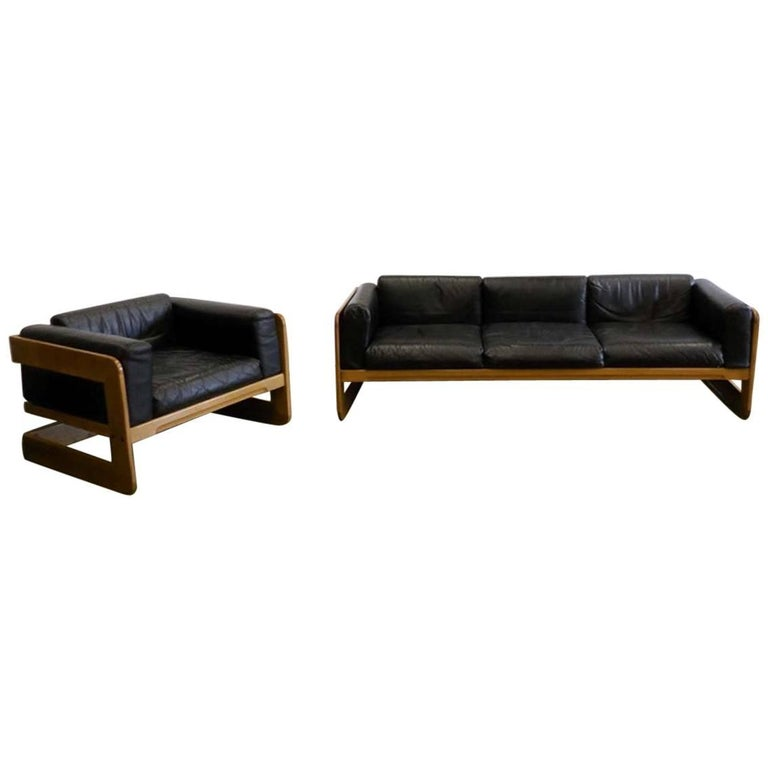 Giuseppe Raimondi Leather Sofa and Chair For Sale
