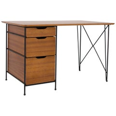 Modernist Desk in Mahogany and Enameled Steel by Vista of California