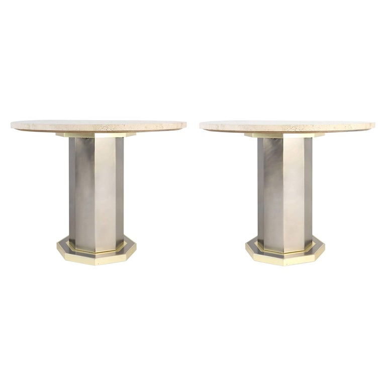 Pair of Travertine Dining Tables by Maison Jansen Belgo Chrome