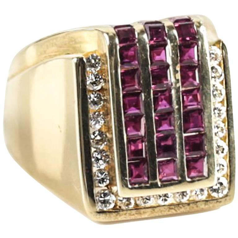 Charles Krypell 18 Karat Yellow Gold Diamond and Ruby Ring