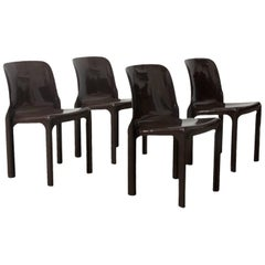 1969, Vico Magistretti for Artemide, Set of Four Brown Selene Chairs