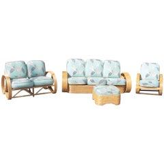 Set of Four-Piece Paul Frankl Style Six-Strand Sofa & Three-Strand Matching Set