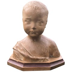 Italian Grand Tour Carved Wood Bust of a Child