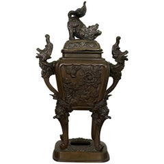 19th Century Bronze Asian Urn Censor with Foo Dog and Elephant Motif