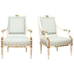 Pair of New Louis XVI Style Armchairs by David Duncan