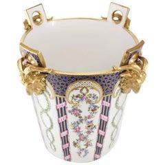 19th Century Very Large Sevres Porcelain Milk Pail or Cache Pot