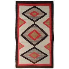 1940s, Modern Chevron Design Navajo Woven Rug in Natural Wool Fibres