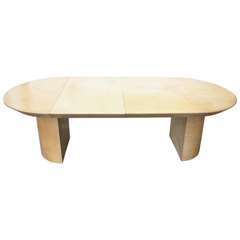 Karl Springer Style Lacquered Goatskin, Pedestal Dining Table, Two Leafs For Sale