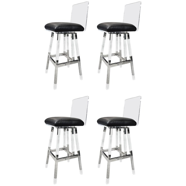 "Charles Hollis Jones Barstools in Lucite and Polished Nickel ""Metric"" Collection"