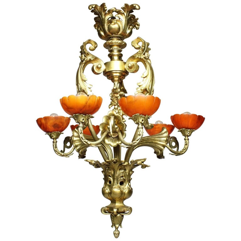 French Belle Époque Early 20th Century Gilt-Bronze & Alabaster Lilies Chandelier
