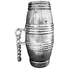 German Tromp L'oeil Silver Brotherhood Wine Vessel, 19th Century