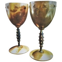 WMF, German Jugendstil Pair of Copper and Wood Challises, circa 1910