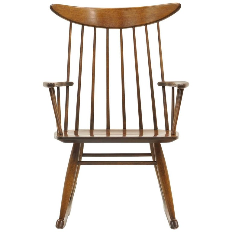 Schaukelstuhl mit Lehne aus dünnen Holzstäben, hergestellt von Conant Ball 1