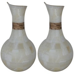 Pair of White Onyx Jar Lamps