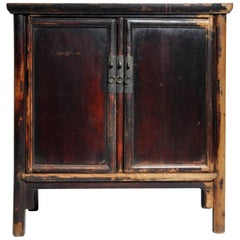 Qing Dynasty Chinese Round Post Chest with Two Drawers and Original Patina