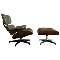 Rare Green Leather Eames Herman Miller 670 Lounge Chair