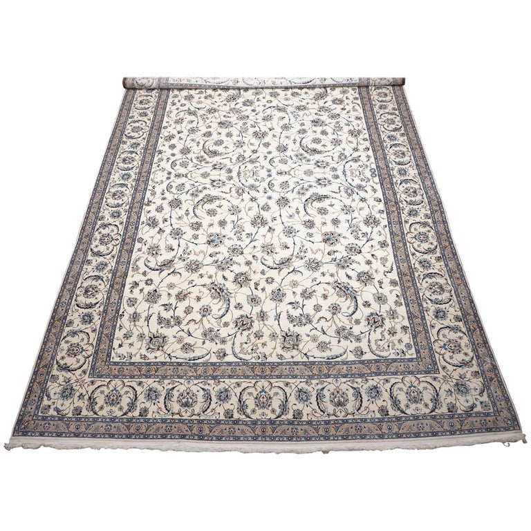 Ivory Wool And Silk Persian Naein Area Rug For Sale At 1stdibs