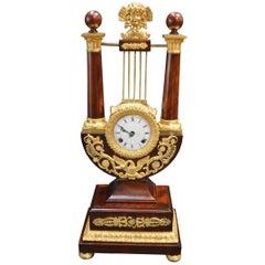Empire Mahogany Clock with Gilded Ormolu