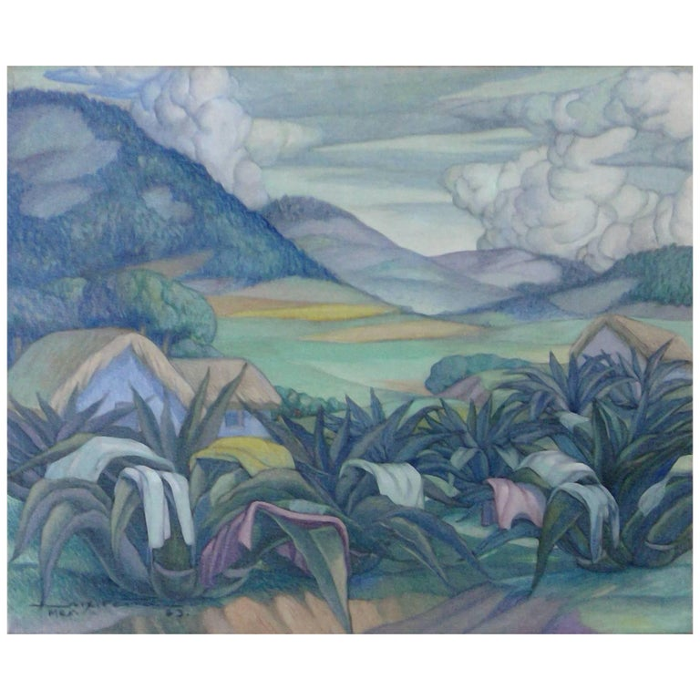 Important Mexican Muralist A.X. 'Alfonso' Pena Painting, Drying Laundry, Mexico
