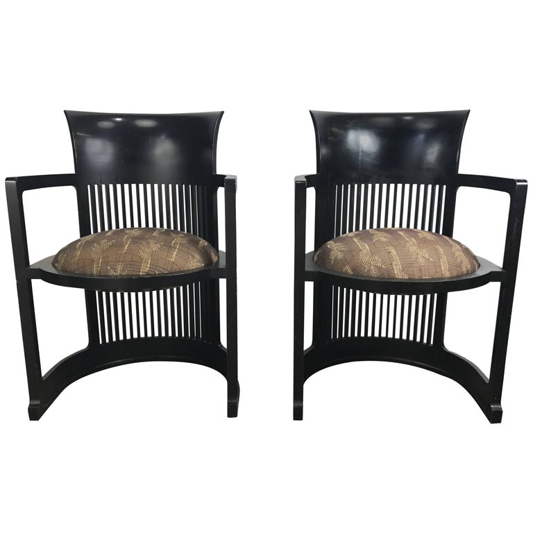 Pair of 606 Barrel Taliesin Chairs Frank Lloyd Wright for Cassina