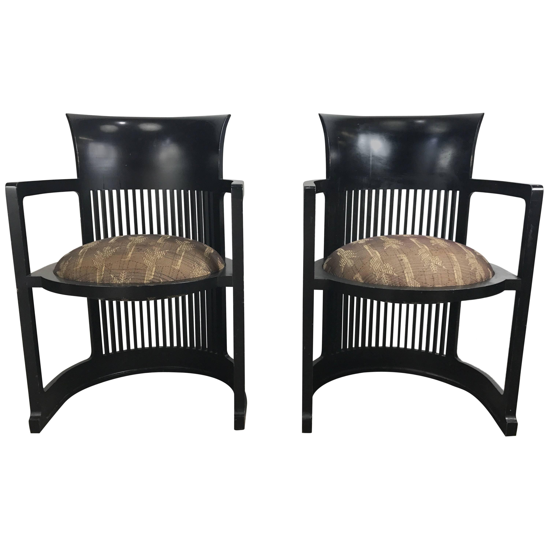 pair of 606 barrel taliesin chairs frank lloyd wright for cassina