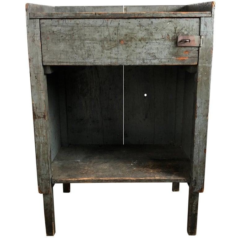 Exceptional Industrial Wood Painted Foreman's Desk