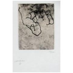 """Eduardo Chillida Original Pencil-Signed Etching, """"Esku Xlll"""""""