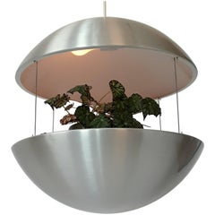 Aluminium Lighted Planter Pendant from Lyskaer, 1970s, Denmark