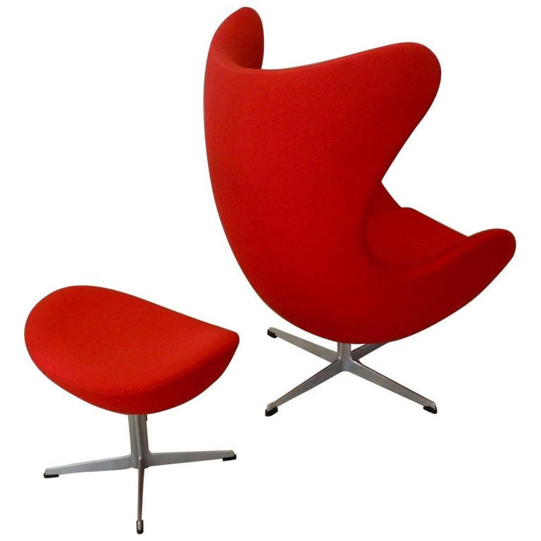 Red Arne Jacobsen Fritz Hansen Egg Chair with Ottoman