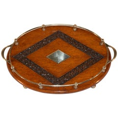 Late 19th Century Oak Gallery Tray with Carving