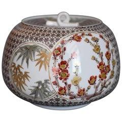 Large Japanese Kutani Lidded Porcelain Decorative Vessel by Master Artist