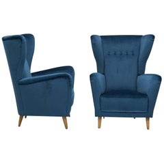 Pair of Italian Modernist High Backed Armchairs Style of Parisi, 1950s