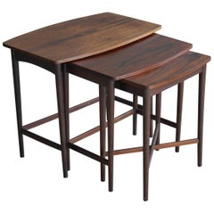 Johannes Andersen Style Nesting or Stacking Tables in Rosewood