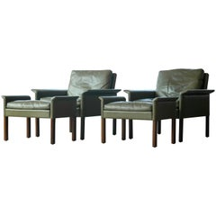 Hans Olsen Pair of Green Leather and Rosewood Lounge Chairs with Ottomans