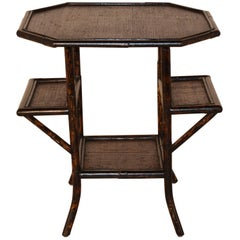 French Bamboo Table with Shelves, circa 1900