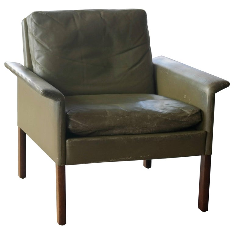 Hans Olsen Lounge Chair In Green Leather And Rosewood For