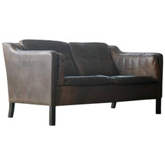 Borge Mogensen Style Two-Seat Sofa in Patinated Buffalo Leather by Mogens Hansen