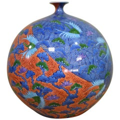 Japanese Ovoid Red and Blue Imari Porcelain Vase by Kinsai