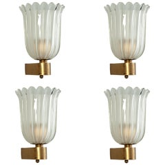 Set of Four Murano Glass Sconces by Barovier