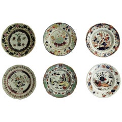 Six Mason's Ironstone Large Dinner Plates Harlequin Set, Mid-19th Century