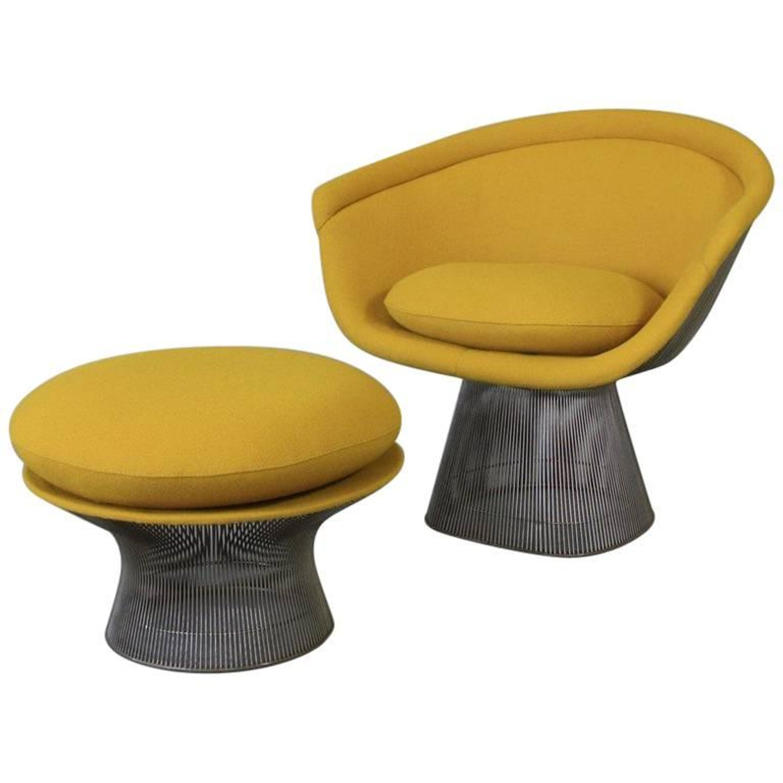Warren Platner Lounge Chair and Foot Stool Knoll International