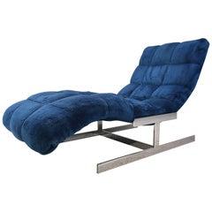 Milo Baughman Style Chrome Base 'Wave' Chaise Longue Chair