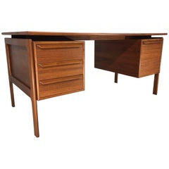 G.v. Gasvig for GV Mobler Danish Modern Floating Drawer Teak Writing Desk
