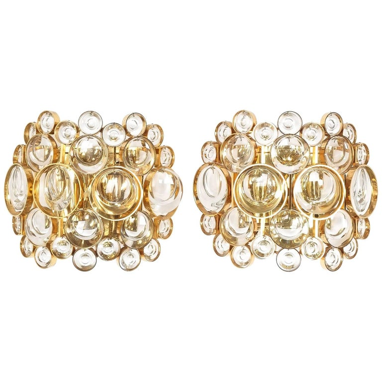 Pair of Gold-Plated Brass and Crystal Glass Wall Lamps Sconces by Palwa, 1960