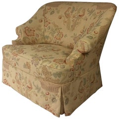 George Smith Style English Reading Chair, Custom Upholstered in Bennison Linen